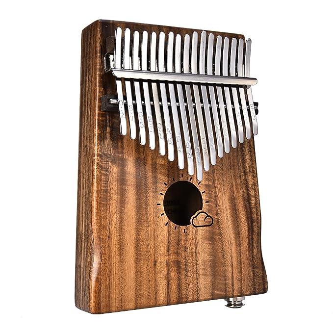 Waroomss 17 teclas EQ kalimba sólido acacia pulgar piano enlace altavoz recogida eléctrica con cable de la bolsa: Amazon.es: Instrumentos musicales