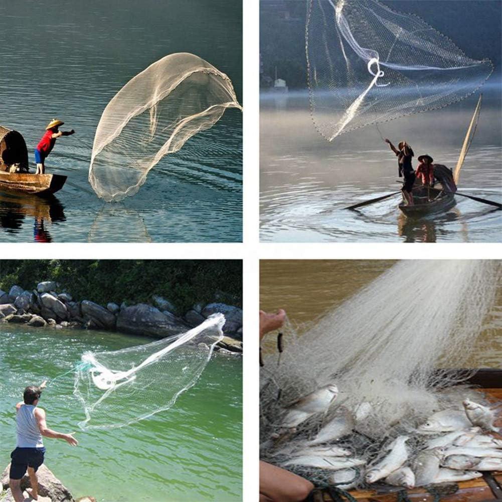 Redes de Malla de Nylon Lanzamiento a Mano con Cuerda Anillos Pesados Zaoyun Redes de Pesca