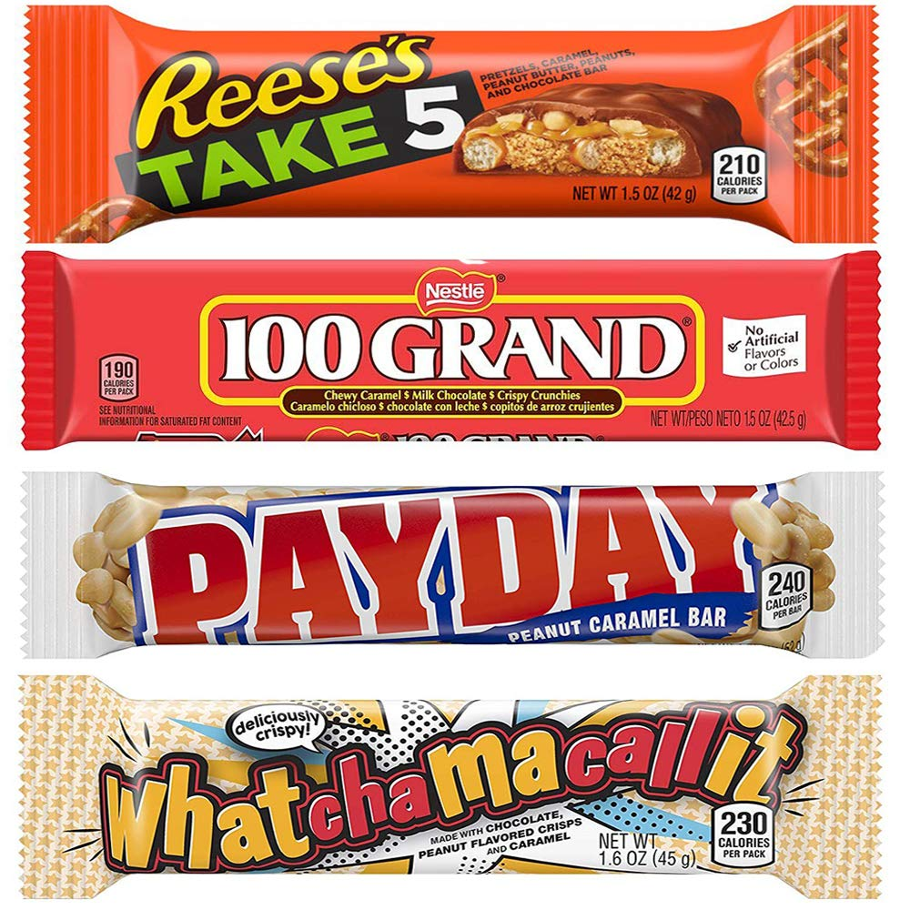Payday 1.85 Oz, Take 5 layers 1.5 Oz, 100 GRAND 1.5 oz - Whatchamacallit 1.6 oz, 4 Bars Of Each 16 Total Bars By CandyLab