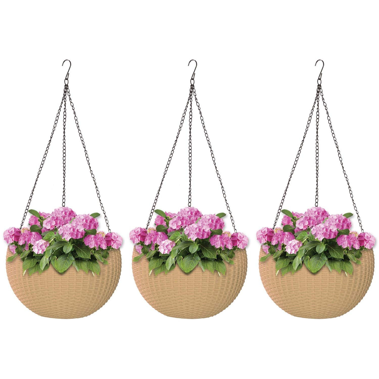 ALMI Hanna Hanging Planter 11 Inch [3 Pack] Round Plastic Decor Garden Resin Flower Pot Chain Basket for Plant, Planters for Plants, for Indoor and Outdoor, Impruneta