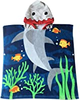 Child 100% Cotton Hooded Towel 24 x 48 inches (Blue Shark)