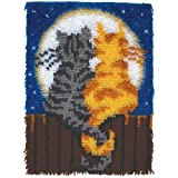 "Spinrite Wonderart Moonlight Meow Latch Hook Kit, 15"" X 20"""