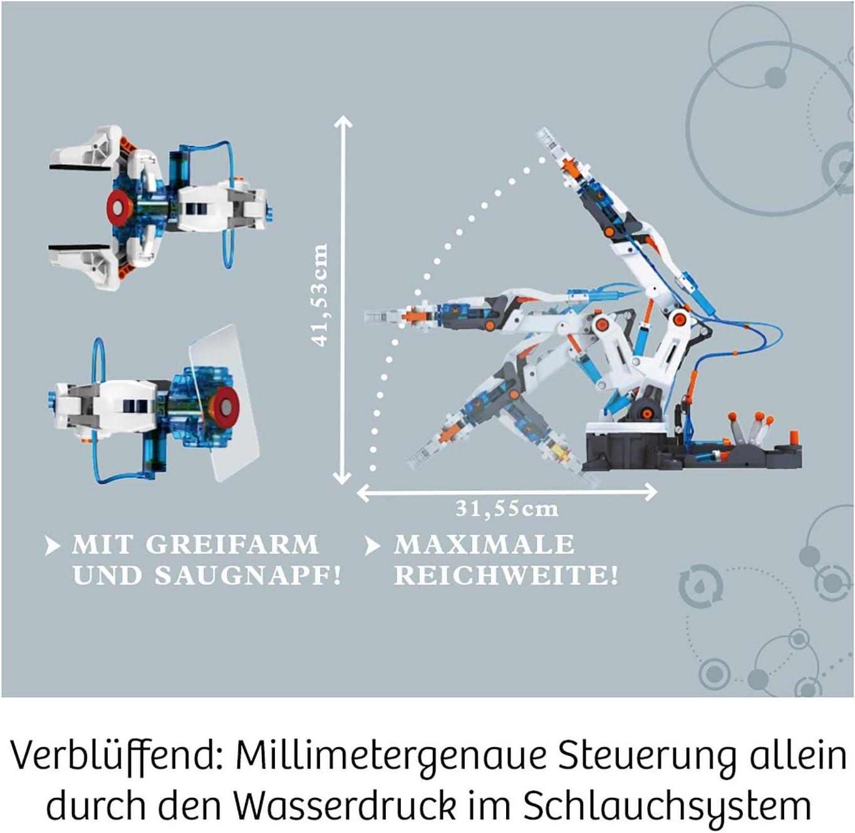 Experimentierkasten zu Hydraulik und Pneumatik ab 10-14 Jahre Modellbausatz f/ür deinen hydraulischen  Roboterarm mit Greifarm  und Saugnapf Kosmos 620479  Hydraulik-Arm
