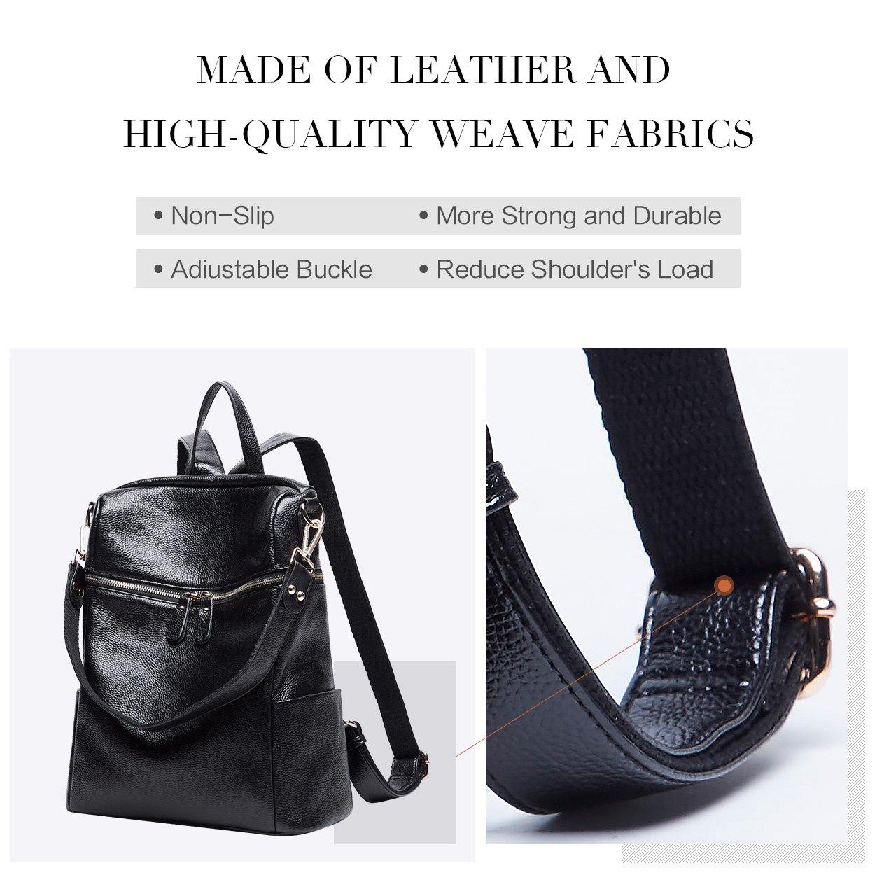 BOYATU Convertible Genuine Leather Backpack Purse for Women Fashion Travel Bag (Black) by BOYATU (Image #8)