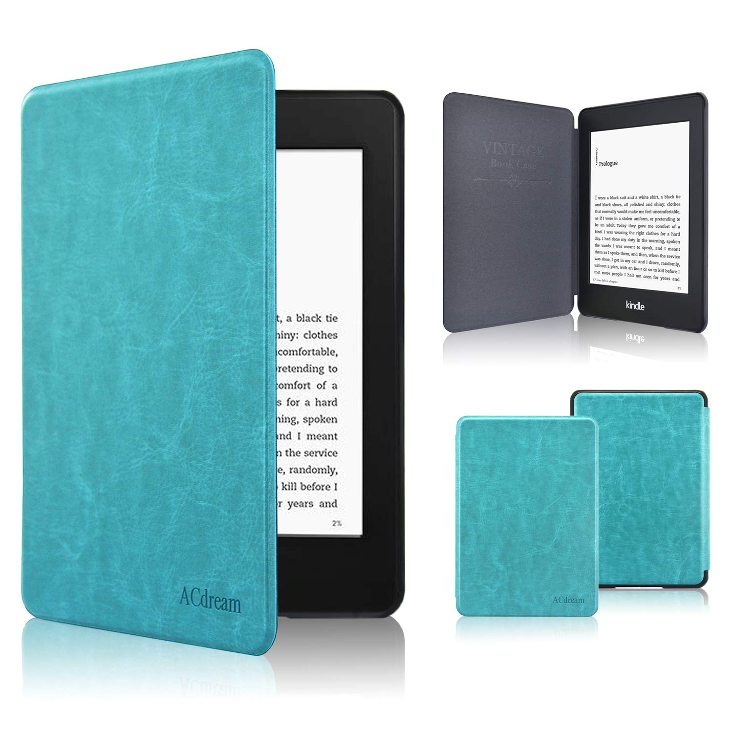 Kindle Paperwhite Case 2018, ACcolor The Thinnest and Lightest Leather Compatible All-New Kindle Paperwhite 10th Generation, (Only Fit KindlePaperwhite 10th Generation 2018, Sky Blue)