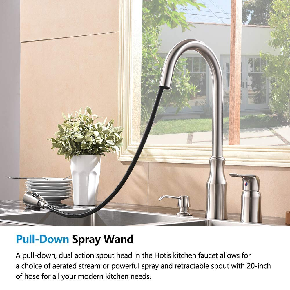 Hotis 3 Hole Kitchen Sink Faucet with Pull Down Sprayer Soap Dispenser Stainless Steel Single Handle Kitchen Faucet, Brushed Nickel by HOTIS HOME (Image #4)