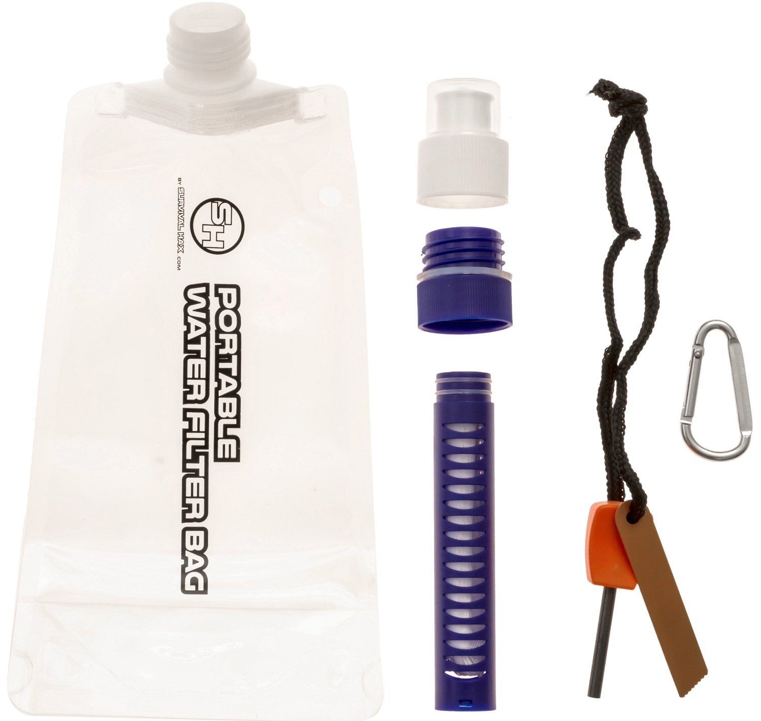Survival Hax Portable Water Filter Straw with Collapsible Bag for Camping & Hiking