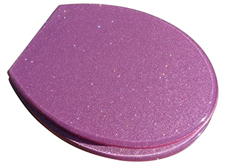 Superb Glitter Pink Fun Toilet Seat With Metal Round Hinges Gmtry Best Dining Table And Chair Ideas Images Gmtryco