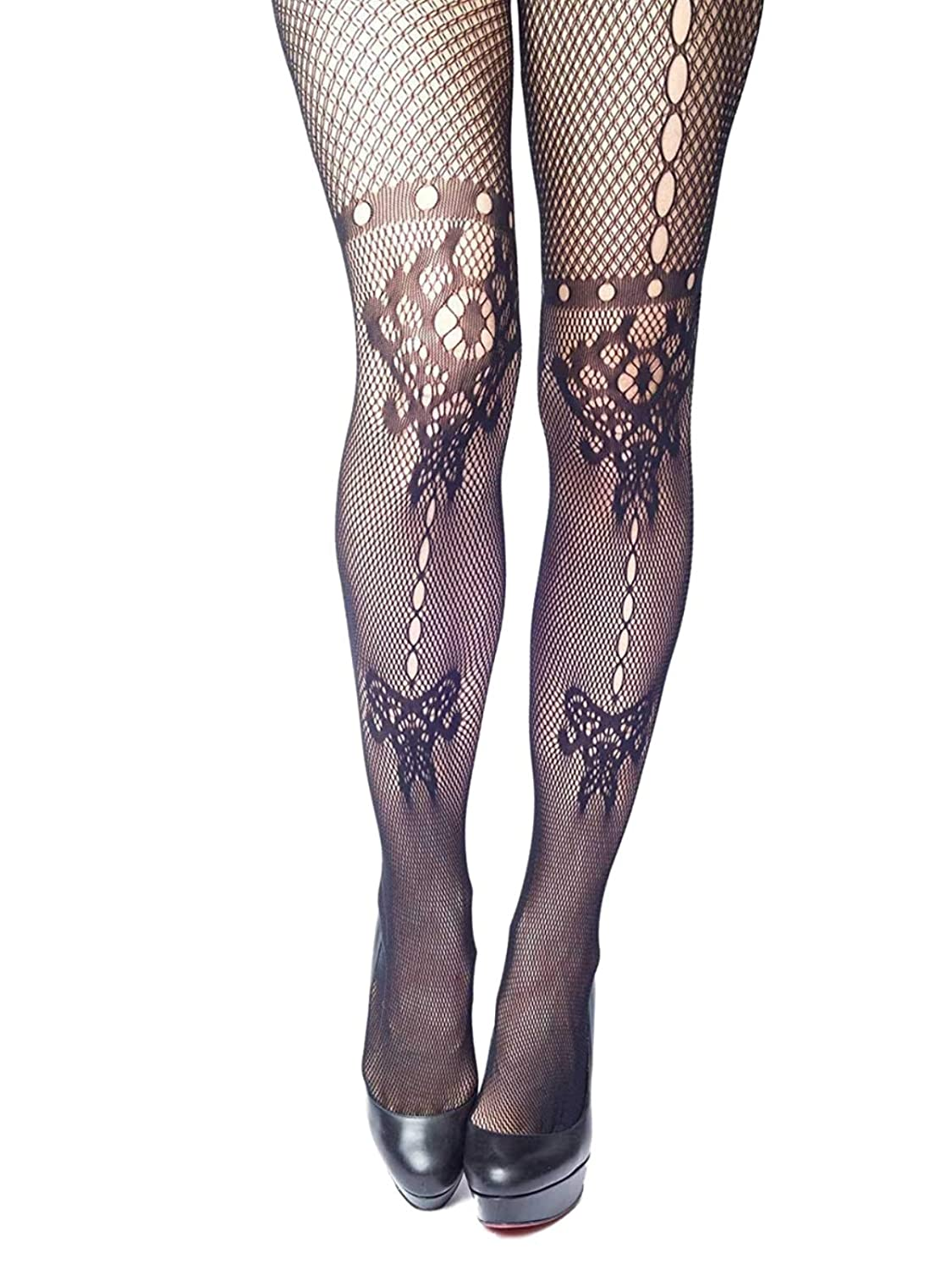 Yelete Killer Legs Women's Queen Plus Size Fishnet Pantyhose 168YD065Q, Black, Butterfly and Floral Inkblot