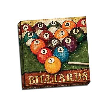 Amazon.com: Billiards 18x18 Decorative Art Vintage Pool Table ...