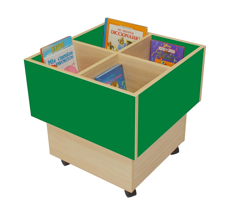 Mobeduc 602103HR21 libreria-Secchio per Bambini, in Legno, Colore: Verde Scuro/Legno Naturale, 60 x 60 x 60 cm Mobeduc_602103HR21