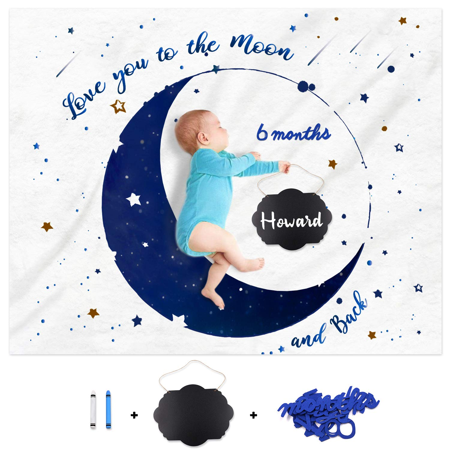 Baby Monthly Milestone Blanket Personalized Moon and Star Photo Props Blanket Ideas for Newborn Boy Blanket Design with Felt Number Set Navy Blue Milestone Chalkboard Baby Nursery Decor 4050