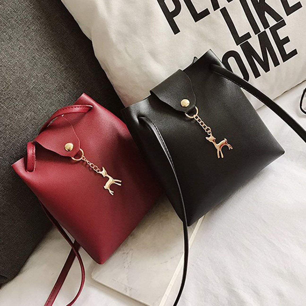 DeerWomen Vintage Soft Handbag Sac /à bandouli/ère couleur unie Sac /à main portable Sac de rangement avec bandouli/ère r/églable noir