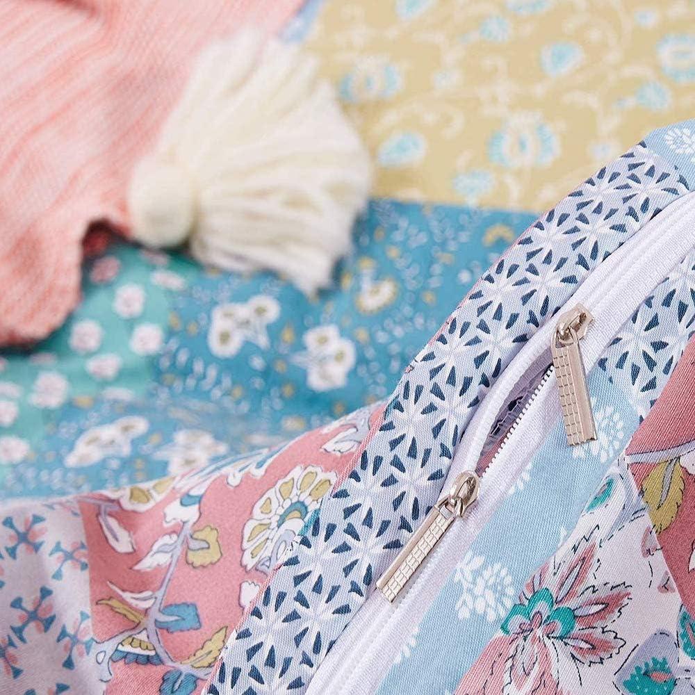 karever Flower Duvet Cover Set Queen Dark Navy Floral Botanical Farmhouse Branches Bedding Full Silver Checkered Cotton Comforter Cover Set for Teen Girl Women