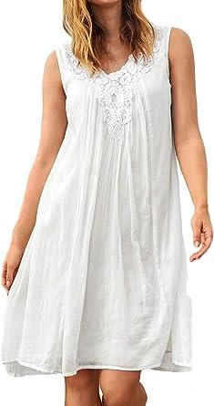 Vestido de Verano para Mujer, de algodón Blanco, sin Mangas, con Forro: Amazon.es: Ropa y accesorios