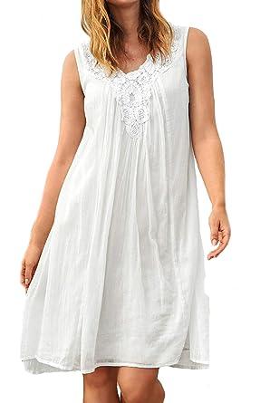 f6f44850cf4e0 Ladies White Cotton Sleeveless Broderie Anglaise Summer Dress UK Size 10 EU  38