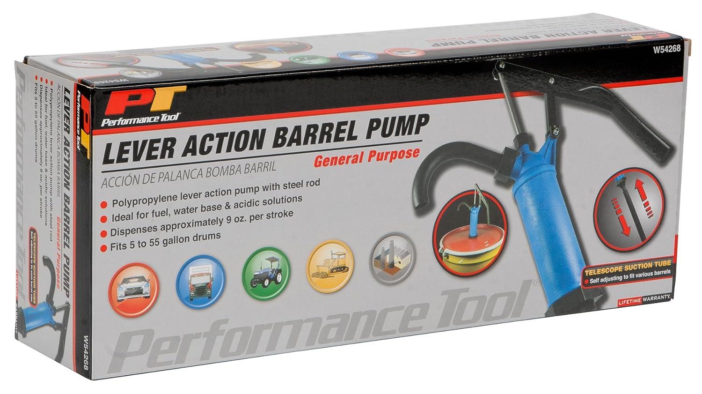 Amazon.com: Performance Tool W54268 Blue General Purpose Lever Action Barrel Drum Pump - Fits 15 to 55 Gallon Drums: Automotive