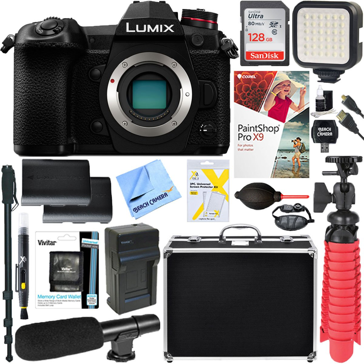 Panasonic LUMIX DC-G9 20.3MP Mirrorless Micro Four Thirds Digital Camera (Body Only) + 128GB SD Card & Deluxe Video Accessory Bundle