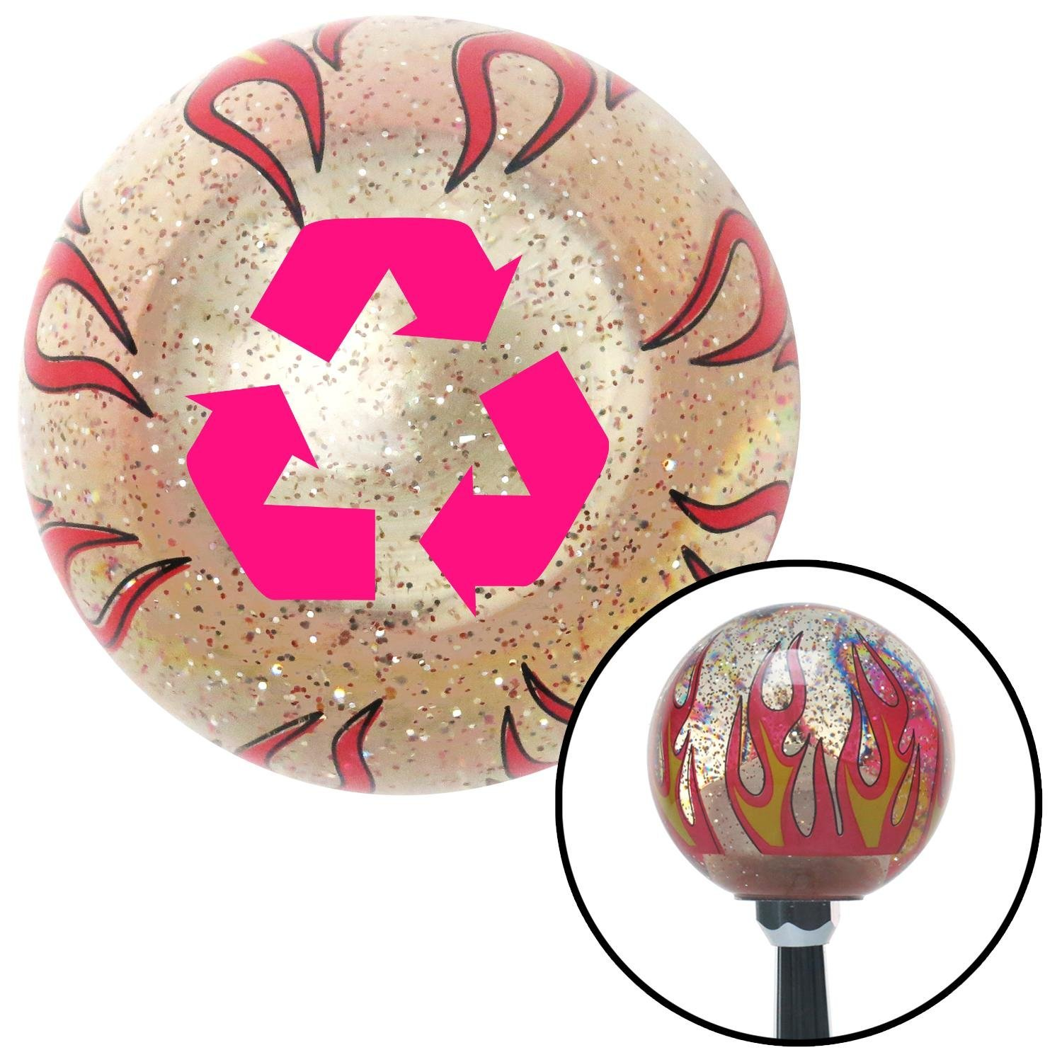American Shifter 231564 Clear Flame Metal Flake Shift Knob with M16 x 1.5 Insert Pink Recycle