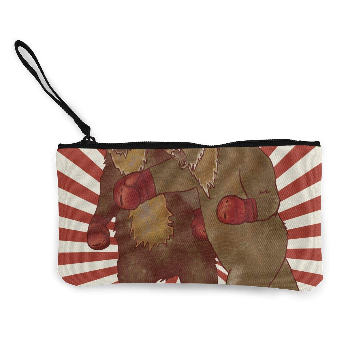 Maple Memories Bear Fight Boxing Portable Canvas Coin Purse Change Purse Pouch Mini Wallet Gifts For Women Girls