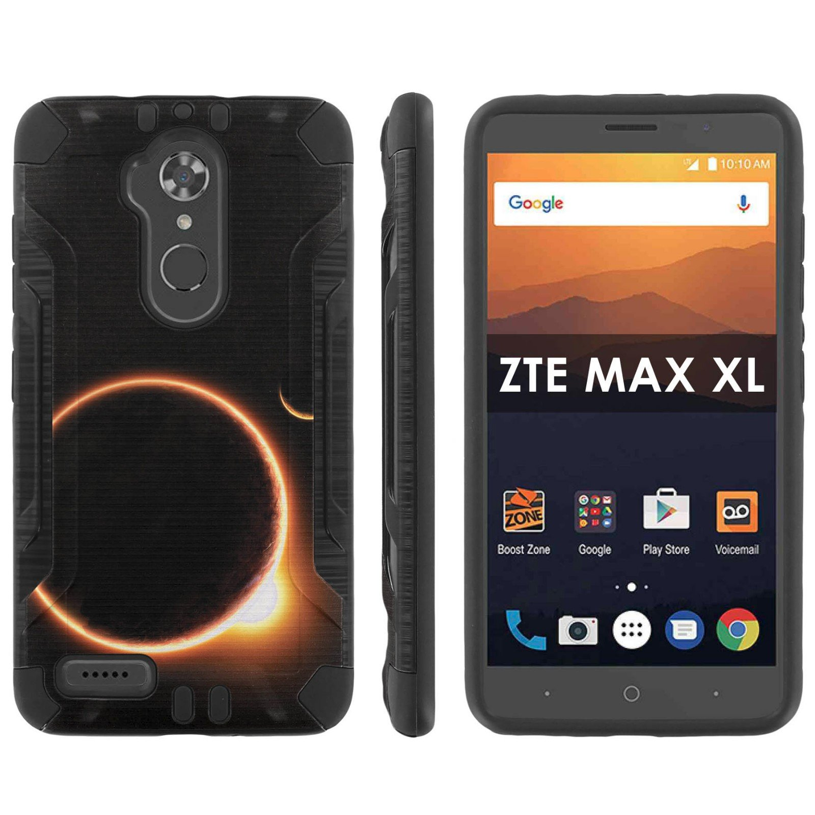 [Mobiflare] ZTE [Max XL] [Blade Max 3 Z986] [Max Blue] Shock Proof [Black/Black] Heavy Duty Armor Phone Case - [Solar Eclipse] for ZTE [Max XL] [Blade Max 3 Z986] [Max Blue] [6'' Screen]