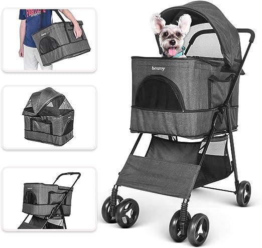 besrey Cochecitos para Perros Mascotas Plegable Viaje Carrito ...