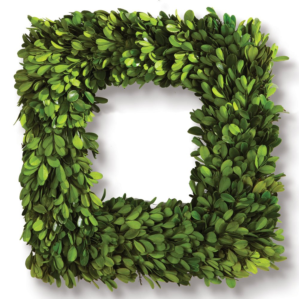Porch & Petal Boxwood Square Wreath, 16''