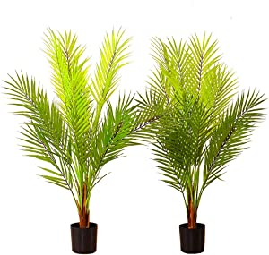 Tommino 2 Pack Gorgeous and Detailed Artificial Mini Tropical Areca Palm Tree with Black Plastic Pot, for Home Office Décor Indoor Faux Green Plants, 18 Branches, 33