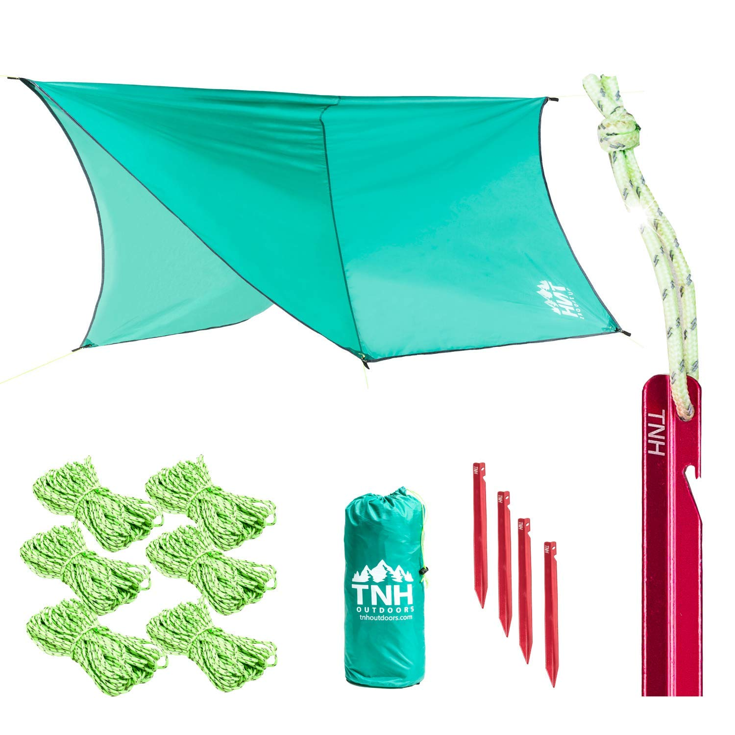 TNH Outdoors Hammock Fly Tarp 9 x 12 ft, Hexagonal Rain Fly or Lightweight Tent for Camping, Stronger Single Latch Aluminum Stakes, Ready for Double Hammocks & Storms by TNH Outdoors