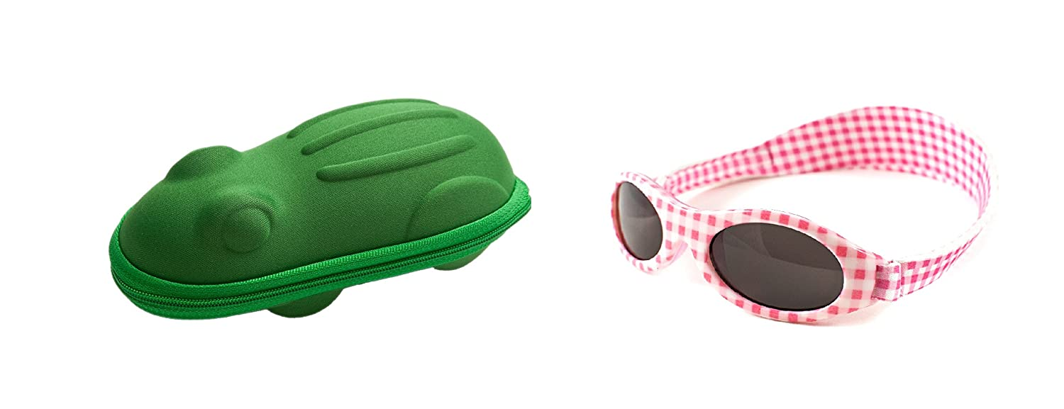 A Gift Pack of Pink Check BabyBanz Sunglasses and a Green Frog Shaped Glasses case Yoccoes Design combo/01A/APG-0202/frog