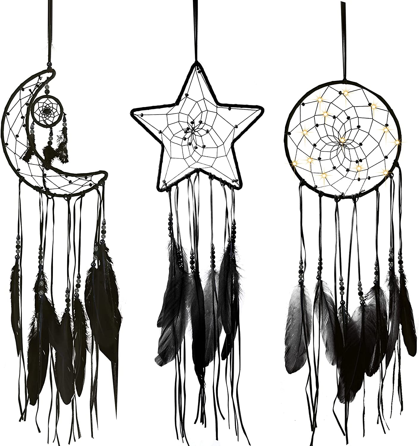 Jetec 3 Pieces Macrame Dream Catcher Moon Sun Star Design Woven Wall Hanging Decor Handmade Traditional Design with 3 LED Light for Wall Hanging Home Decoration (Black)