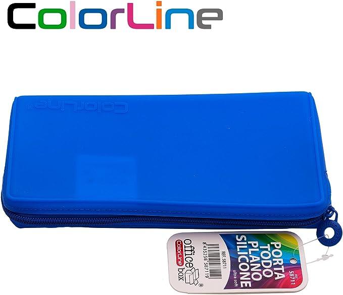 Colorline 58711 - Portatodo Plano de Silicona, Estuche Multiuso para Viaje, Material Escolar, Neceser y Accesorios. Color Verde, Medidas 21 x 10.5 x 3 cm: Amazon.es: Oficina y papelería
