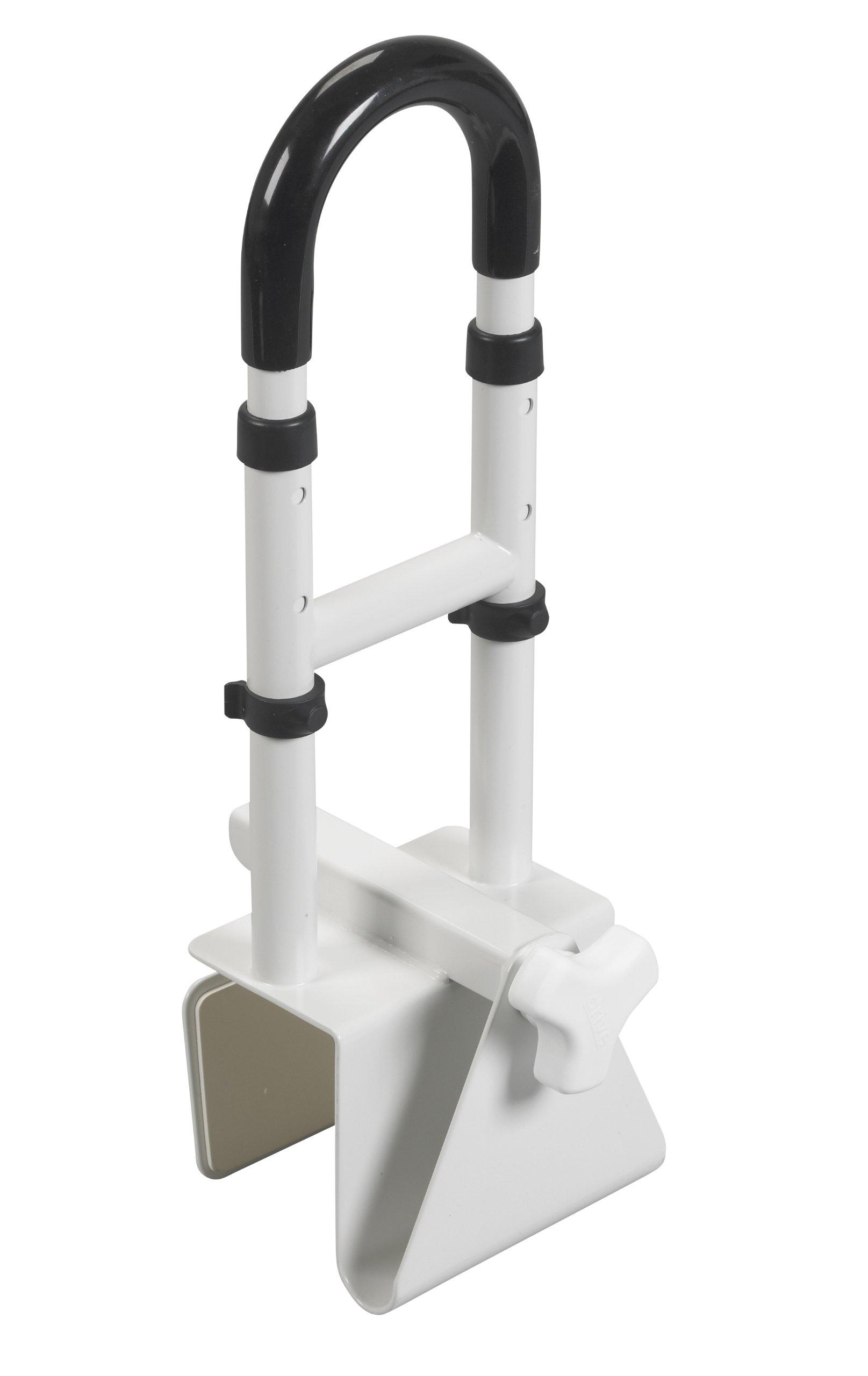 Drive Medical Adjustable Height Bathtub Grab Bar Safety Rail, White by Drive Medical
