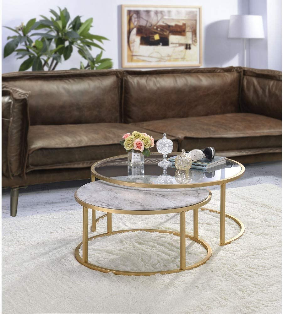 Amazon Com Knocbel Modern Nesting Coffee Table Set Of 2 For Living Room Faux Marble Clear Glass Top Metal Frame Gold Finish Faux Marble And Gold Kitchen Dining