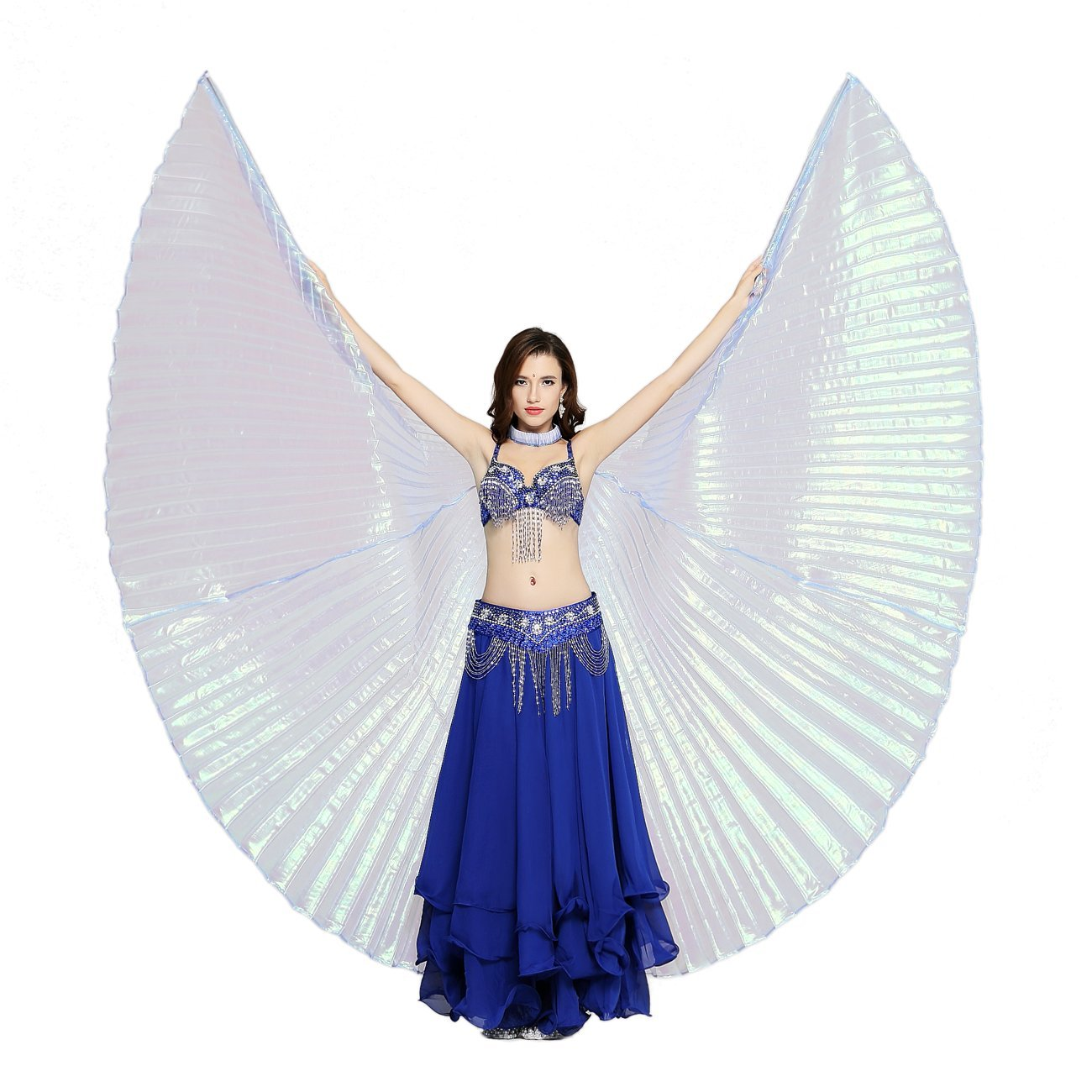 c9bc279e6ae4 Dance Fairy Belly Dance White Colorful Yarn Iridescent Isis Wings product  image