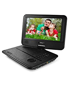 FOYU Portable DVD Player with Swivel Angle Adjustable Display Screen, Built-in Rechargeable Battery, Personal DVD players with car headrest case (9.8 Inches)