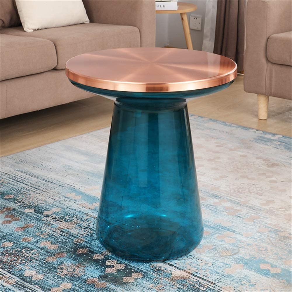 Snelle Express ZRRtables glazen tafel salontafel modern vaasvorm woonkamertafel rond bijzettafel mini salontafel met metalen frame van messing voor thuis, woonkamer, eetkamer, (blauw, 46Ø×55cm) A f31xAfi