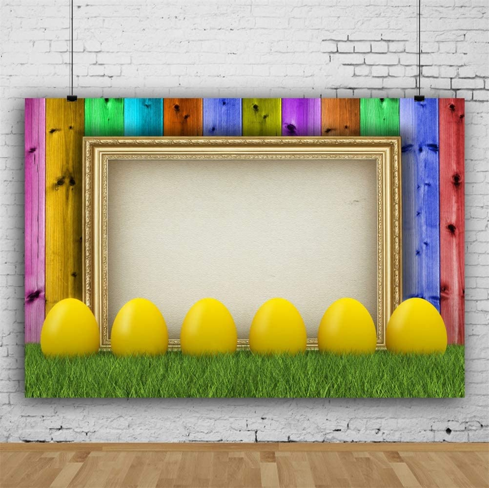 GoHeBe Vinyl Easter Day Photography Backdrops 10x7ft Yellow Easter Eggs Grassland Empty Golden Photo Frame Colorful Vertical Striped Wooden Wall Background Children Adults Photo Shoot Greeting Card