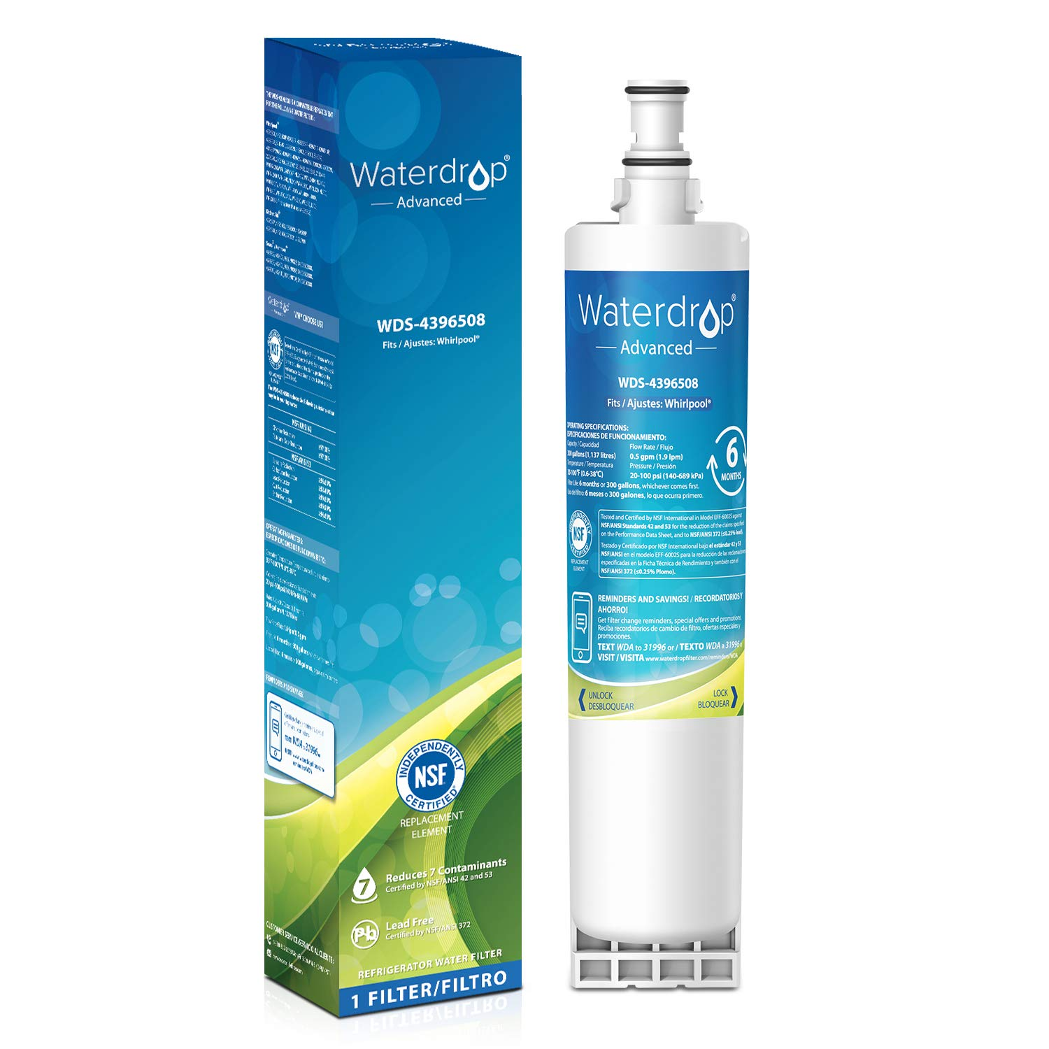 Waterdrop 4396508 NSF 53&42 Certified Refrigerator Water Filter, Compatible with Whirlpool 4396508, 4396510, 4392857, Kenmore 46-9010, NLC240V, EveryDrop Filter 5, EDR5RXD1, PUR W10186668, Pack of 1