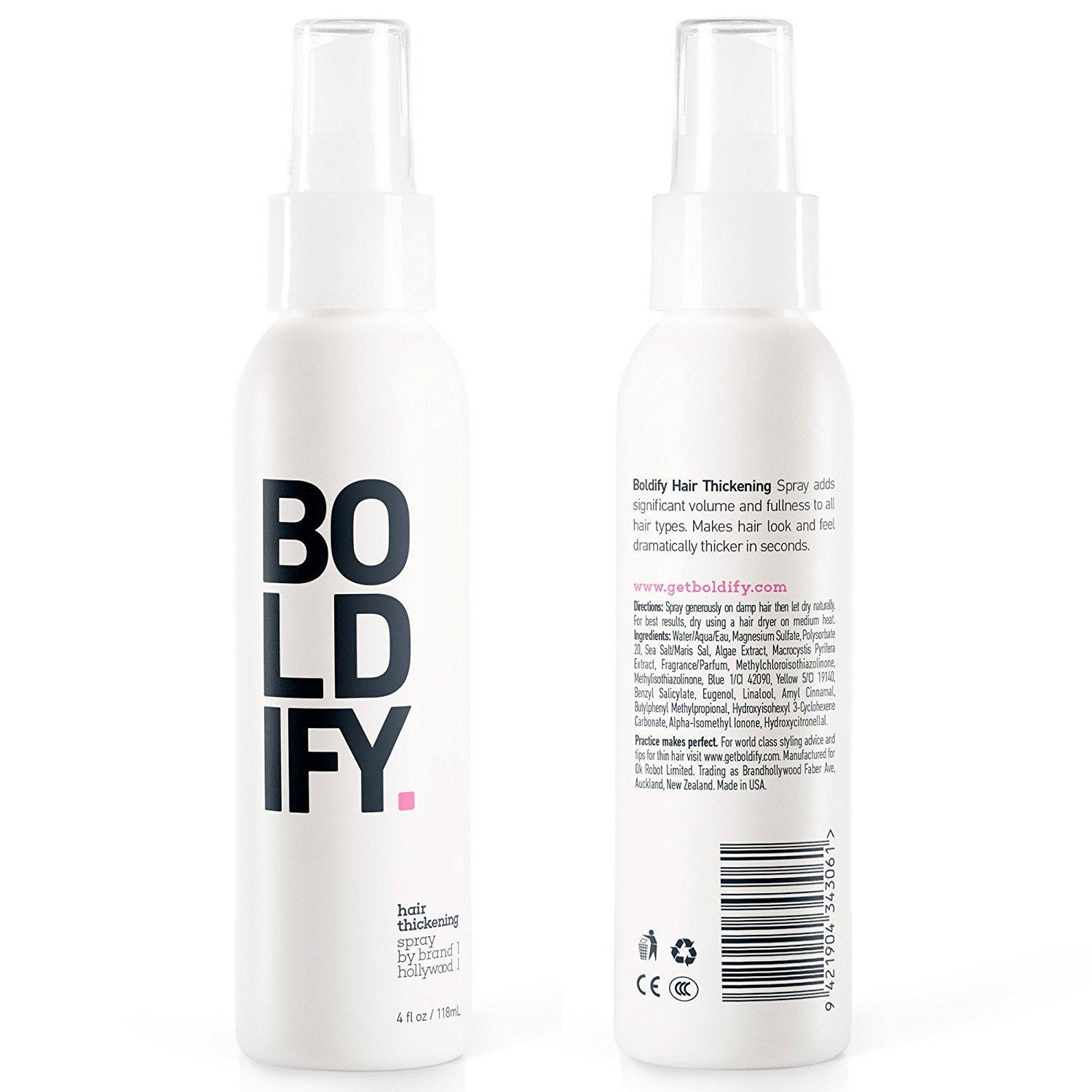 BOLDIFY Hair Thickening Spray - Get Thicker Hair in 60 Seconds - Stylist Recommended Hair Thickening Products for Volume, Texture and Lift - The Ultimate Hair Thickener for Women and Men - 8 Ounce by Boldify (Image #2)