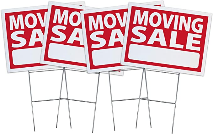 Moving Sale Blue Red Corrugated Plastic Yard Sign //Free Stakes
