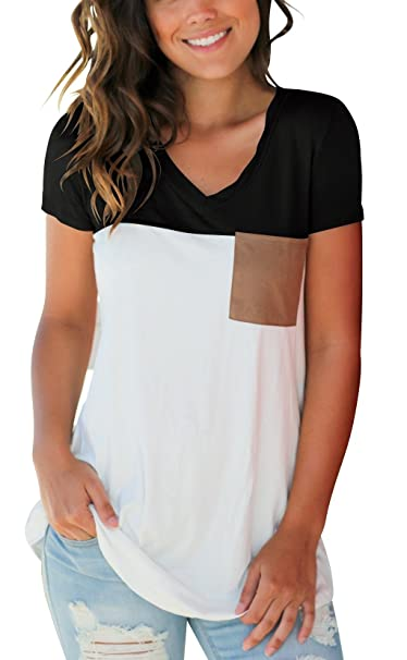 5cd57de252 Casual Short Sleeve T Shirt for Women Color Block Tops with Suede Pocket  Black S
