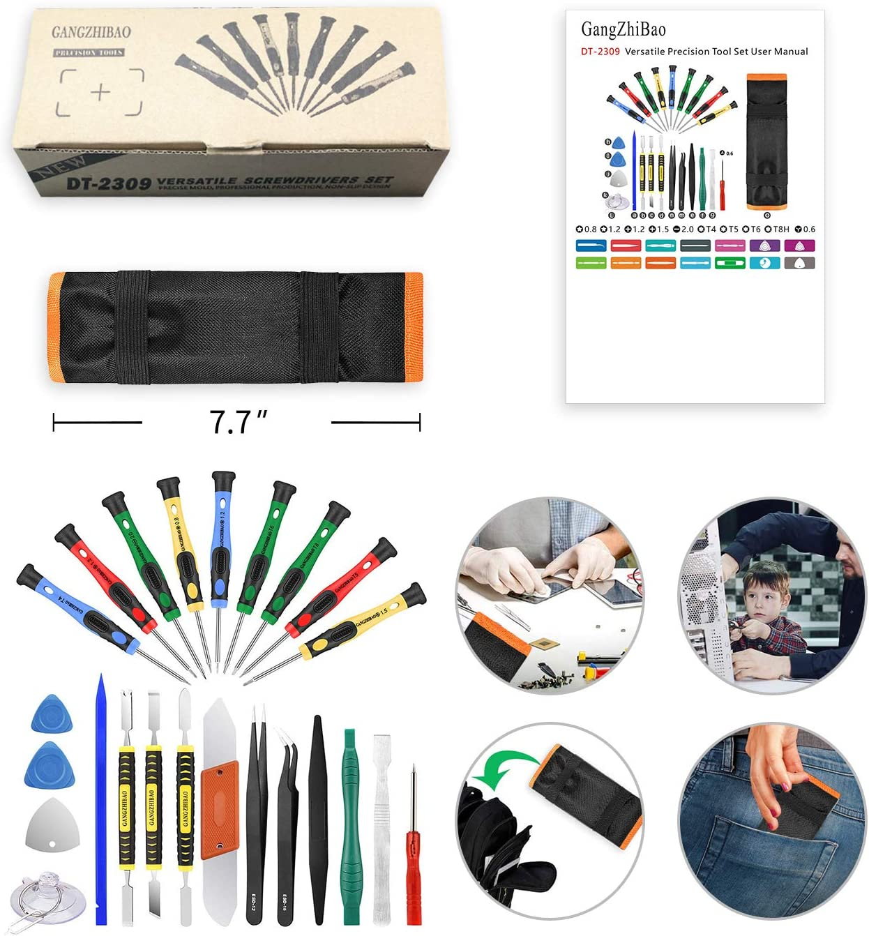25pcs Electronics Repair Tool Kit, GangZhiBao Precision Screwdriver Set Magnetic for Fix Apple iPhone,Cell Phone,Smart Watch,Computer,PC,Tablet,iPad,Camera,Xbox,PS4 Pry Open Replace  Screen Battery: Home Improvement