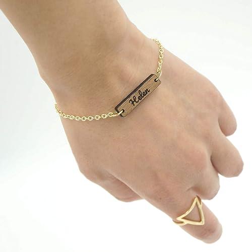 29e1b99f5e5 Amazon.com: Personalized Custom Dainty Wood Bar Engraved Name Gold ...