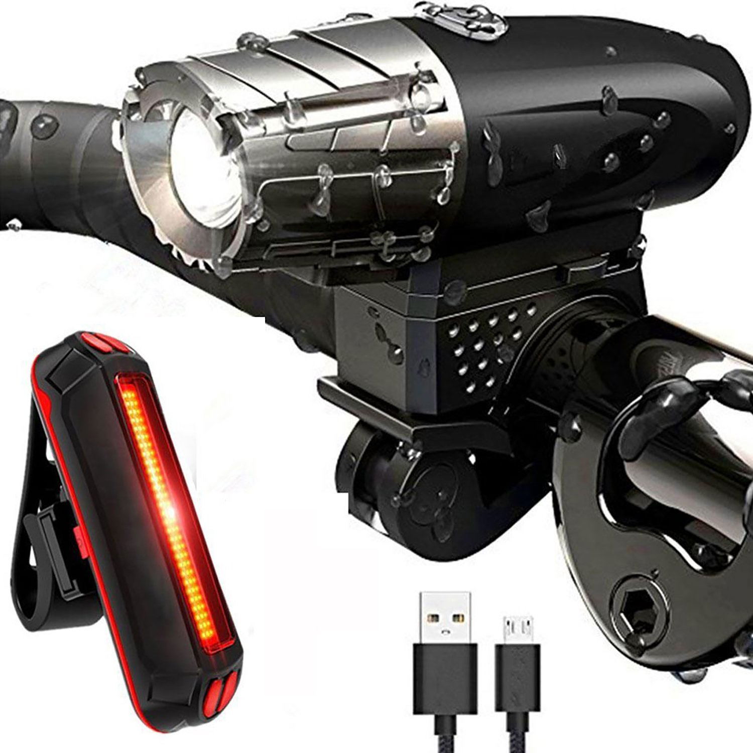 Donpandas 400 Lumens Bike Front and Rear Lights USB Rechargeable Light and Back Tail Light Set Super Bright Bicycle 3W CREE T6 LED Headlight for Optimum Cycling Safety(Black,4400mAh & IP65 Waterproof)