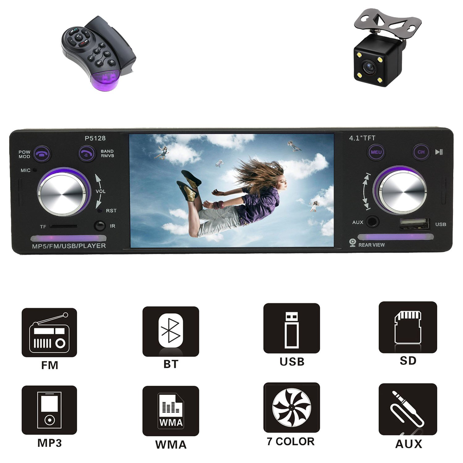 D&A Car Stereo/digital Media receiver with Bluetooth FM Radio in Dash/4.1inch HD Screen/MP5/MP3/Video Player, Single Din USB/AUX in/Hands-Free Calling/Rear View Camera Input and Wireless Remote Contro