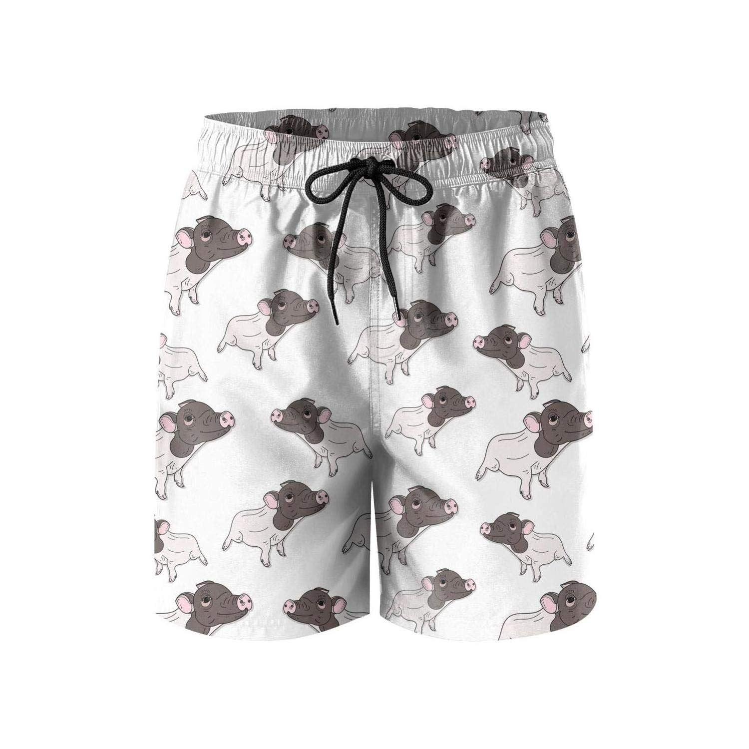 Qdjahidn White Little Pig Cute Casual Mans Shorts Vacation Surfing Board