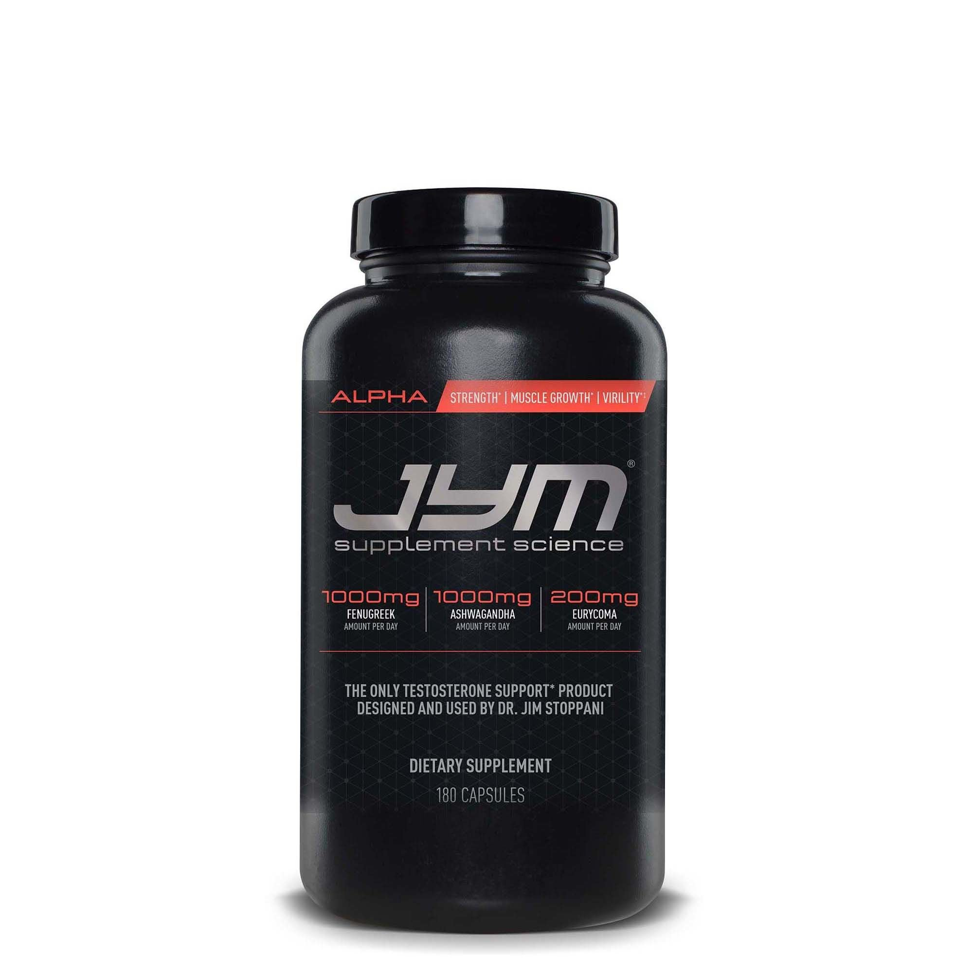 JYM Supplement Science, ALPHA JYM, Testosterone Booster with Ashwagandha, Fenugreek, Eurycoma, Damiana, Eurycoma and more, 180 Vegetarian Capsules