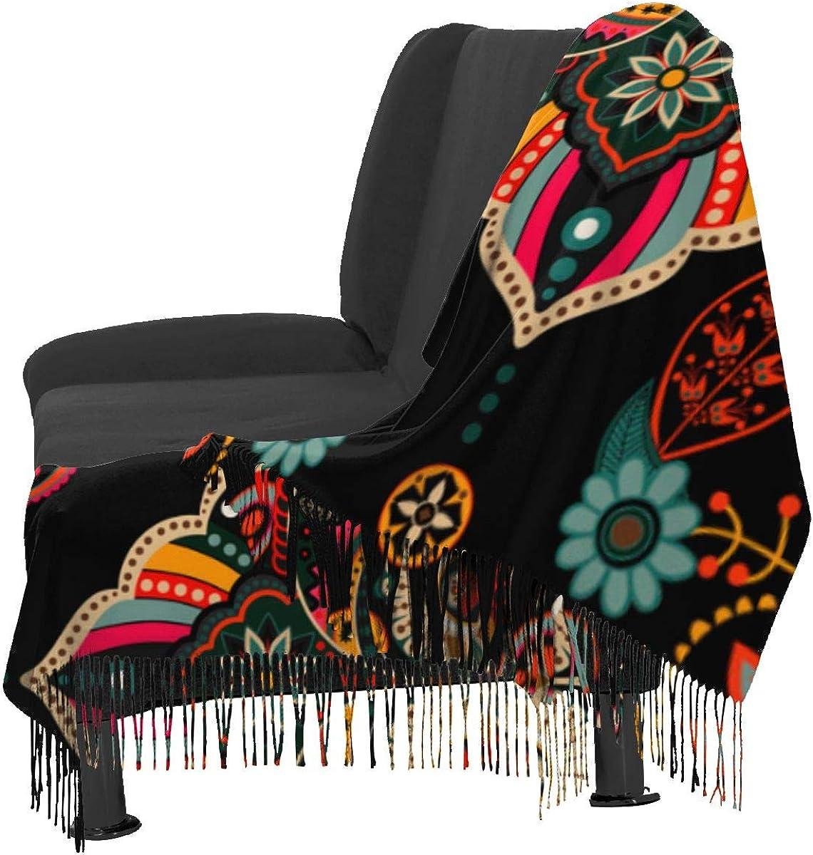 Ornamental Pattern Arabian Style Colorful Womens Scarf Large Long Blanket Check Wrap Shawl with Tassel 77x27 inch