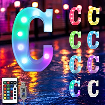 16 Color Changing Marquee Letter Light,Light Up Colorful 26 Alphabet Signs – Home Decor Name Signs – USB Powered LED Remote Timer – Lighted Vintage Accessories & Decorations-C